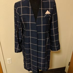Vintage 1980s navy blue and light pink blazer